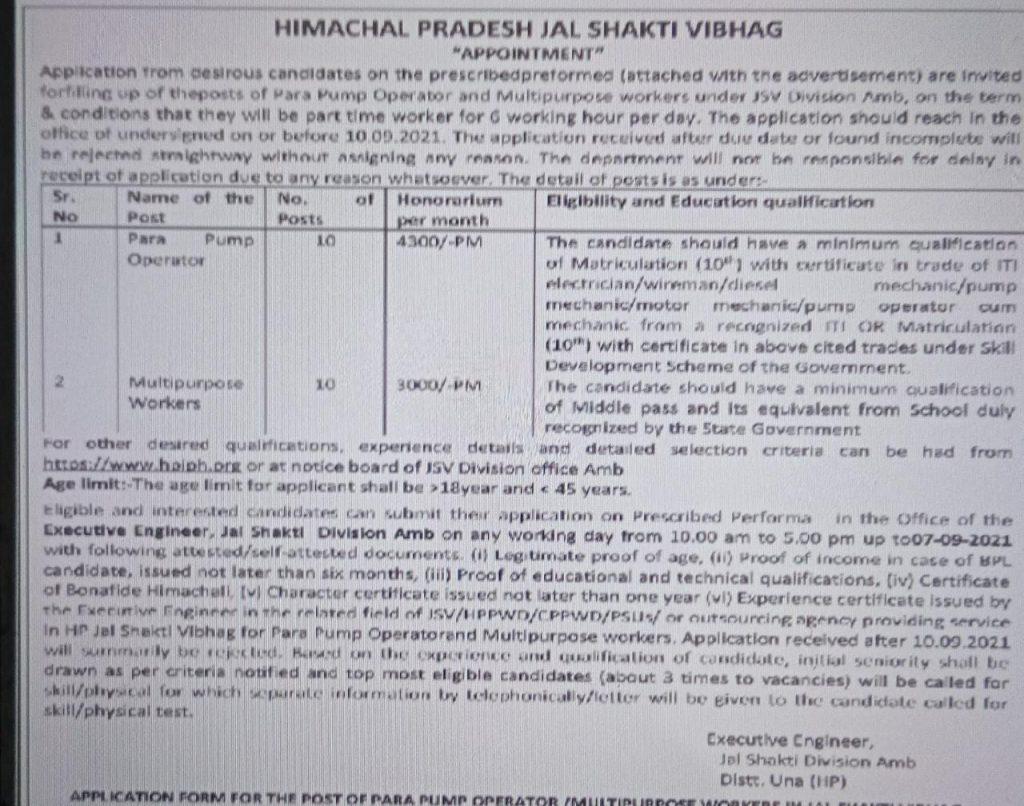 HP Jal Shakti Vibhag Umb Division Recruitment 2021